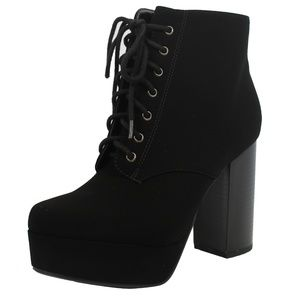 Shoes - Black Lace Up Platform Chunky Block Heel Boot